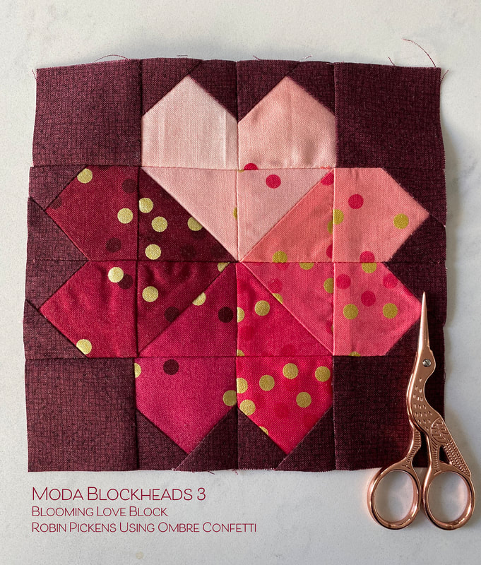 Ombre Confetti used in Blooming Love block (and Thatched) by Robin Pickens