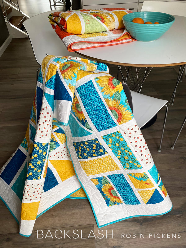 Backslash Quilt in blues using Solana by Robin Pickens
