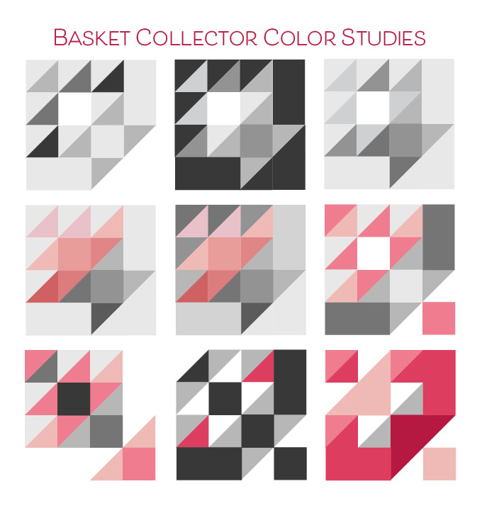 Color Studies for Basket Collector block for Moda Blockheads