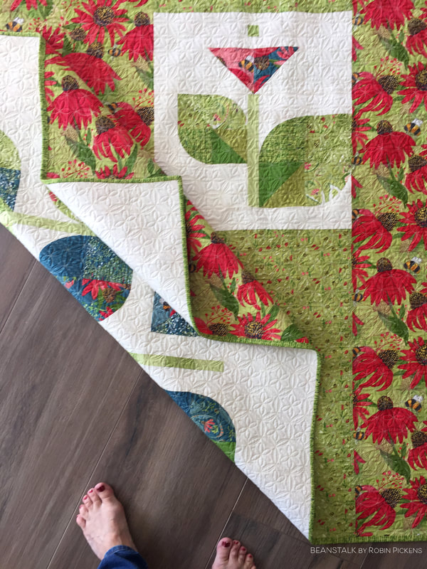 Beanstalk quilt back by Robin Pickens in Painted Meadow fabric from Moda Fabrics