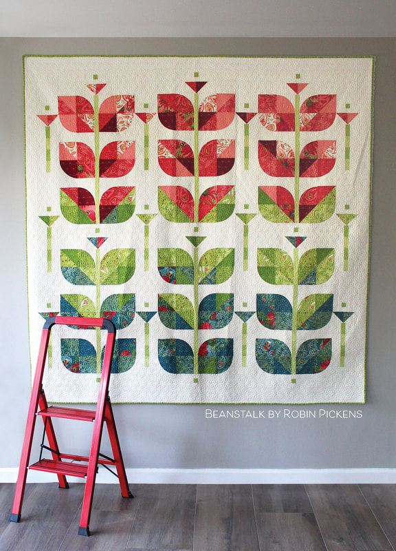 Beanstalk quilt by Robin Pickens (large square) in Painted Meadow fabric from Moda Fabrics