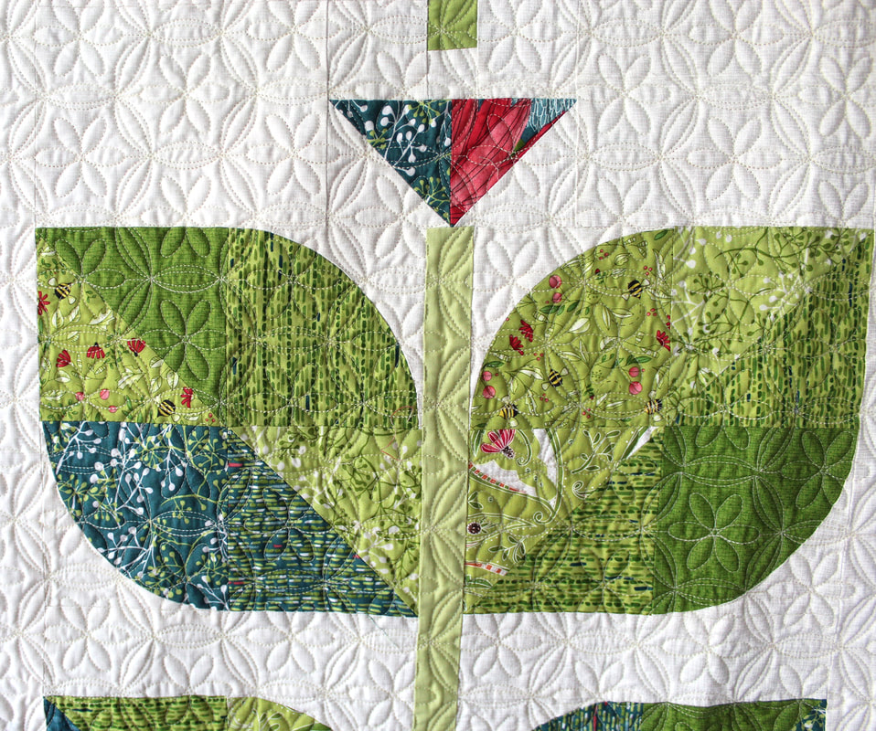 Beanstalk quilt close up of leaves, by Robin Pickens in Painted Meadow fabric from Moda Fabrics