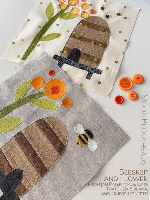 Beeskep and Flower quilt block for sew along sampler Moda Blockheads