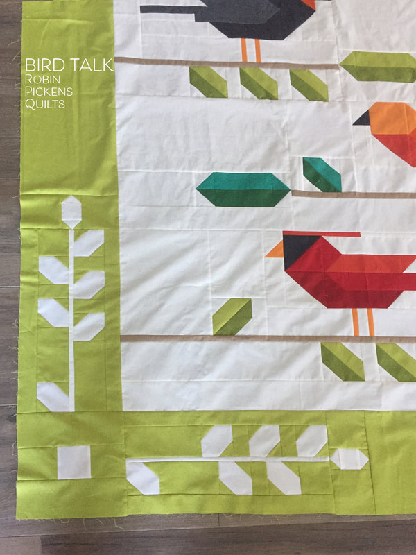BIRD TALK quilt by Robin Pickens pieced leaf  border