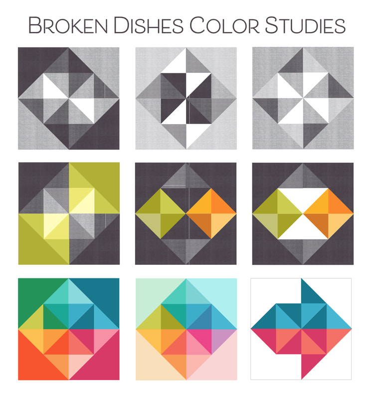 Broken Dishes quilt block color studies from Robin Pickens on Laurie Simpson's block design