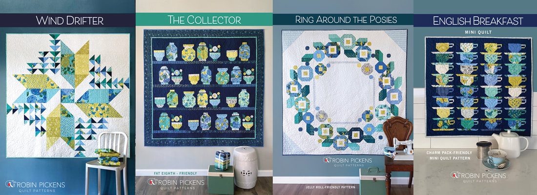 Cottage Bleu quilt patterns from Robin Pickens