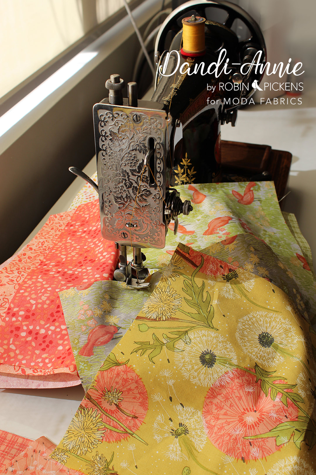 Dandi Annie fabric for Moda by Robin Pickens with dandelion and birds with vintage singer sewing machine.