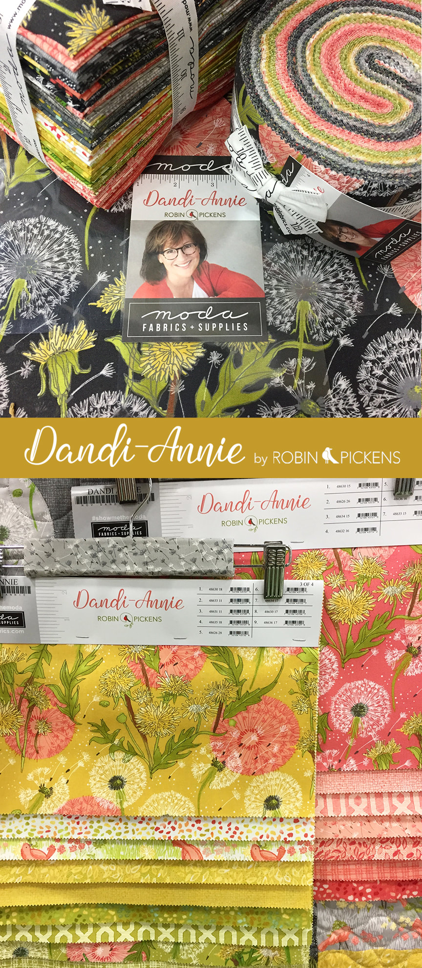 Dandi Annie fabric collection by Robin Pickens for Moda and quilting. Dandelions and birds have fun in the warm gold, green, gray and peach colors.