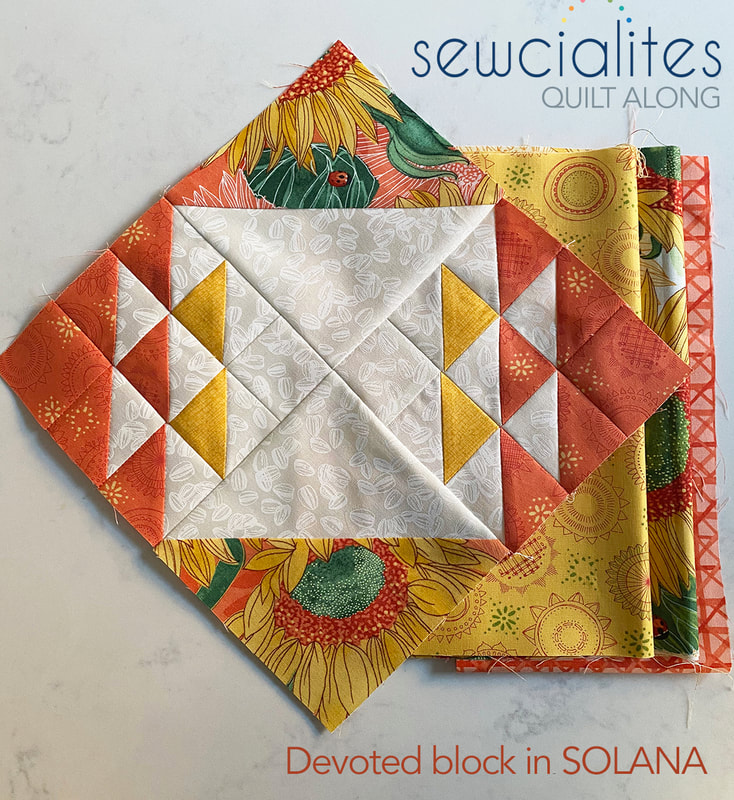 Devoted Sewcialites block in Solana fabric by Robin Pickens