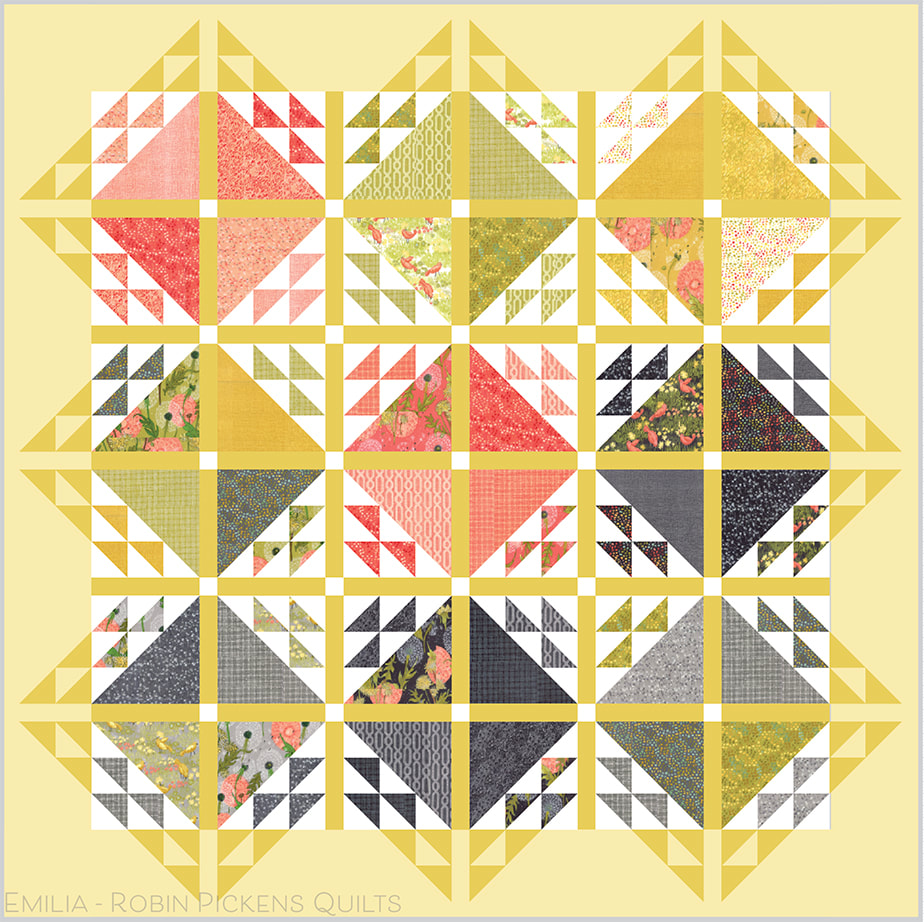 Emilia quilt by Robin Pickens in Dandi Annie yellows