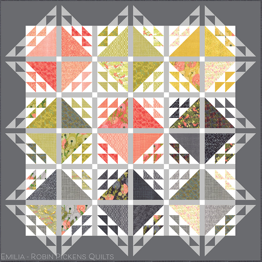 Emilia quilt by Robin Pickens in Dandi Annie grays
