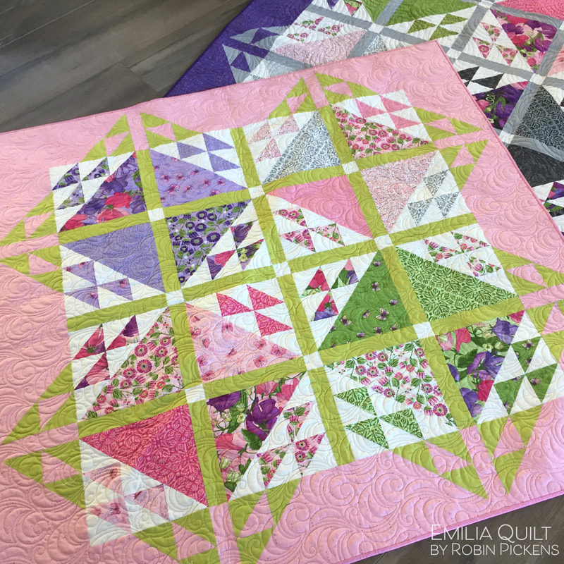 Emilia quilt pattern by Robin Pickens with Moda's Sweet Pea & Lilly
