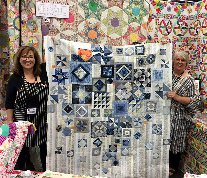 Jen Kingwell and Robin Pickens with Gypsy Wife quilt top