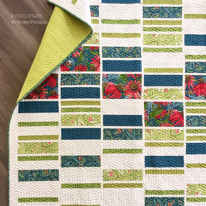 Kyoto Steps quilt by Robin Pickens in Painted Meadow LAP size