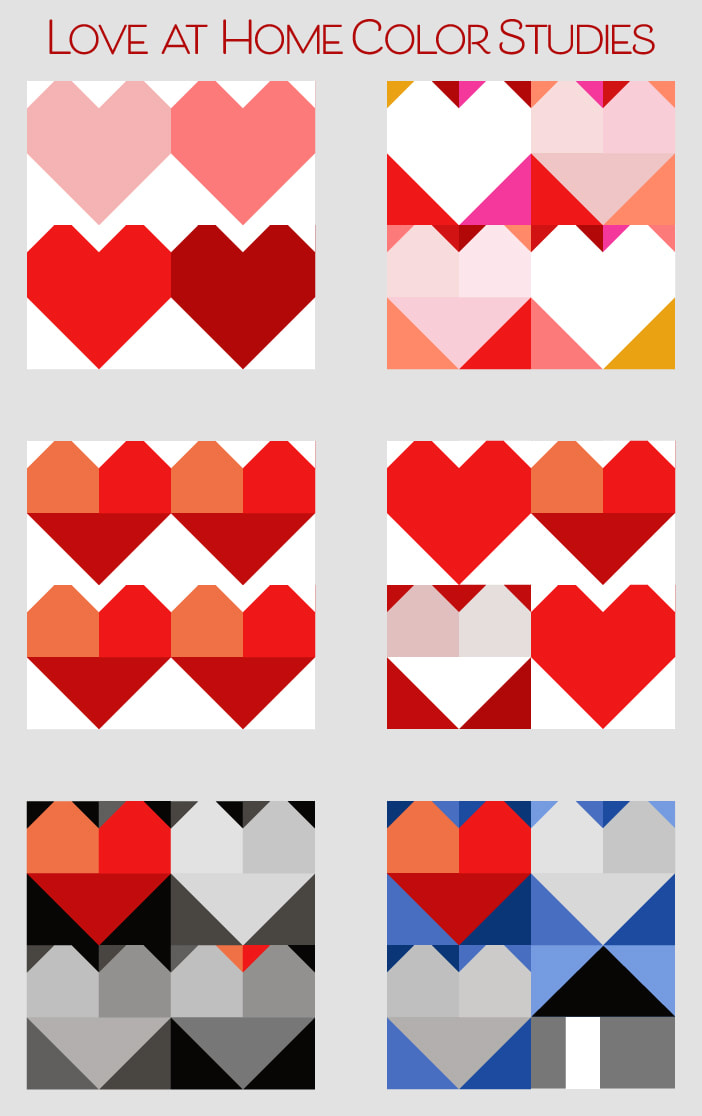 Love at Home quilt block color studies