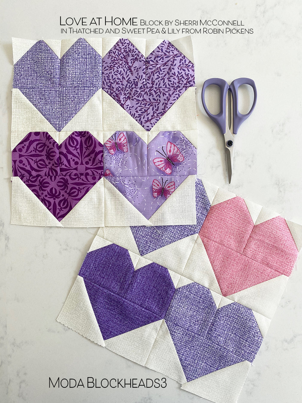 Love at Home quilt block in Thatched and Sweet Pea and Lily from Robin Pickens