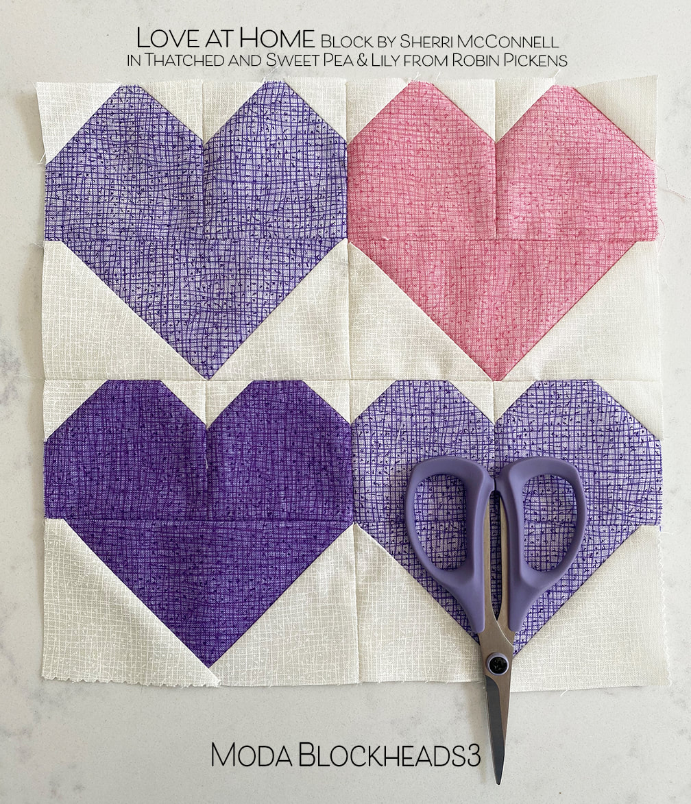 Love at Home quilt block in Thatched from Robin Pickens