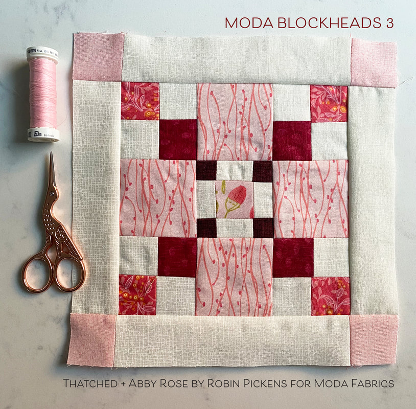 Moda Blockheads 3 in Abby Rose in Laurie Simpson's 9 Patch