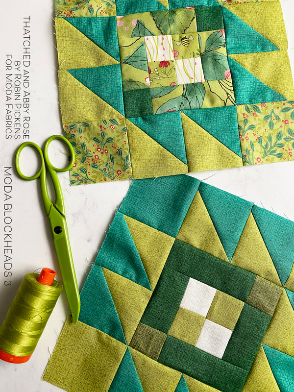 Moda Blockheads3  Taos block with green Thatched and Abby Rose Duo