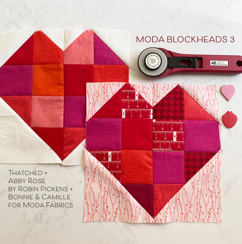 Moda Blockheads 3 Zest 2 heart blocks