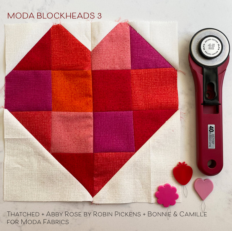 Moda Blockheads 3 Zest heart Thatched block