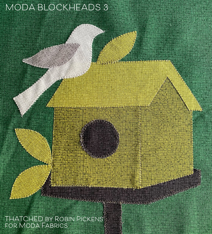 Moda Blockheads 3 Birdhouse block by Jan Patek made in All Thatched