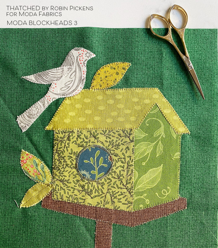 Moda Blockheads 3 fancy Birdhouse block made in Robin Pickens Thatched