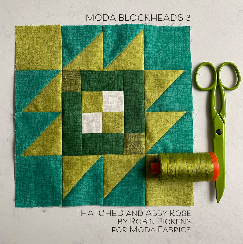 Moda Blockheads3  Taos block with green Thatched fabric
