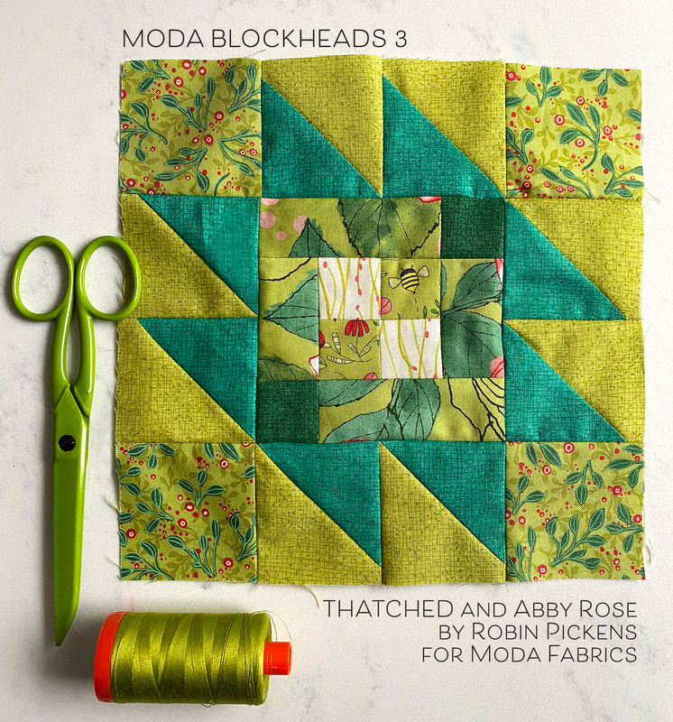 Moda Blockheads3  Taos block with green Abby Rose