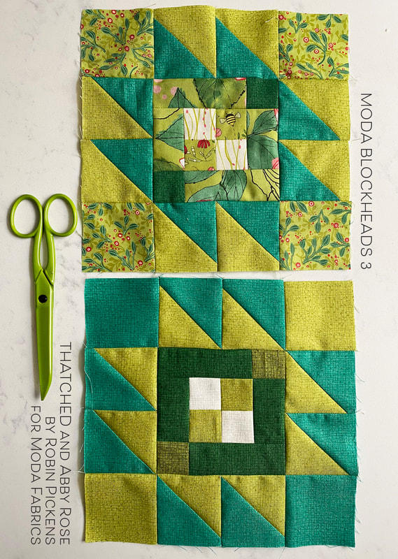 Moda Blockheads3  Taos block with green Thatched and Abby Rose