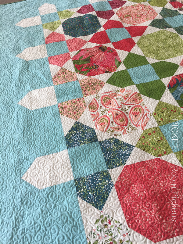 Picket quilt by Robin Pickens with Painted Meadow for Moda Fabrics- close up