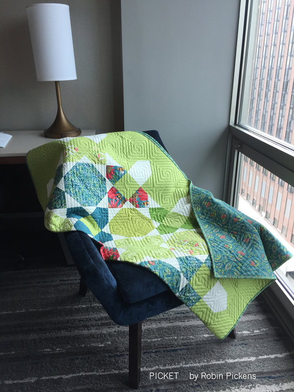Picket quilt in Green by Robin Pickens with Painted Meadow for Moda Fabrics