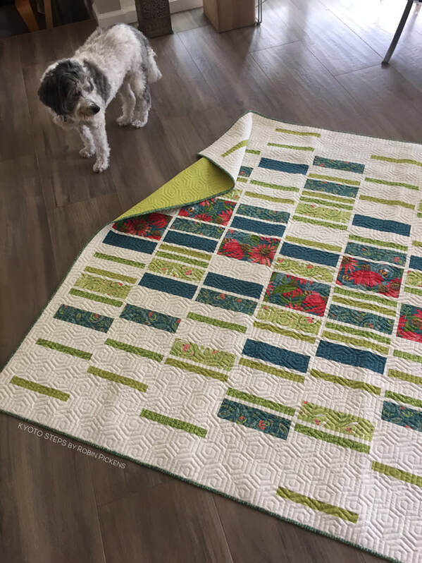 Kyoto Steps quilt in LAP size by Robin Pickens in Painted Meadow
