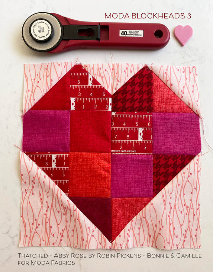 Moda Blockheads 3 Zest heart scrappy block