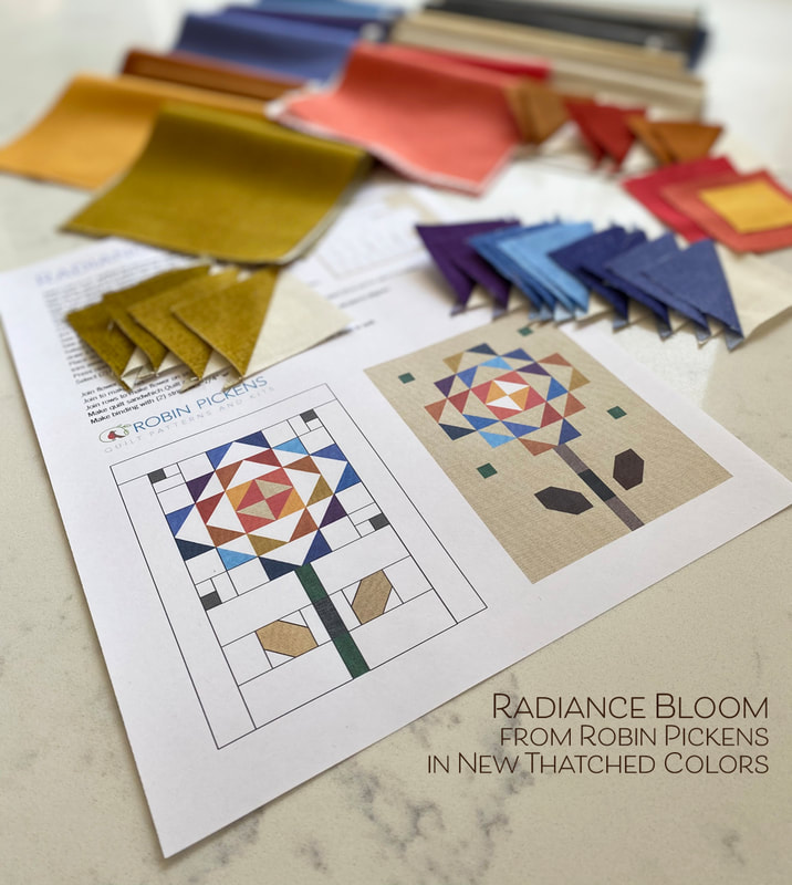 Radiance Bloom Mini Quilt pattern in new Thatched colors from Robin Pickens