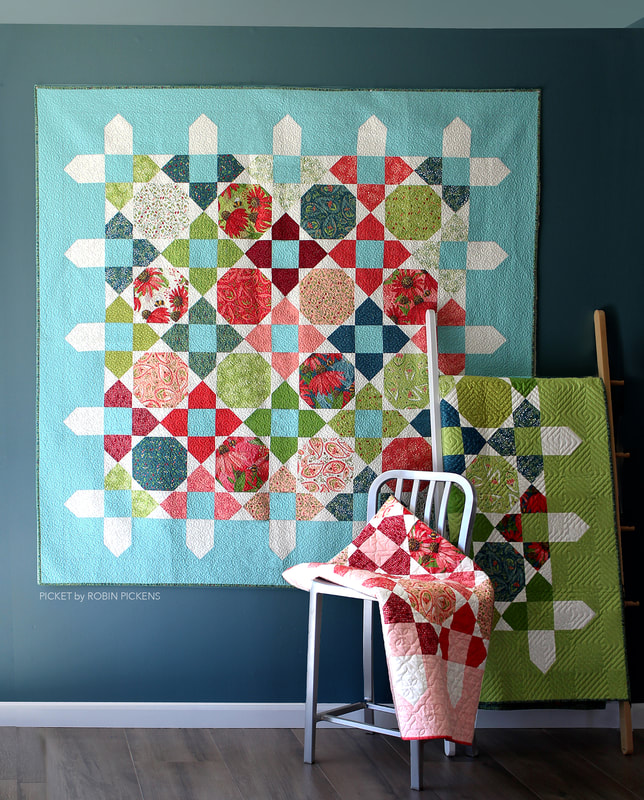 Picket quilt by Robin Pickens with Painted Meadow for Moda Fabrics