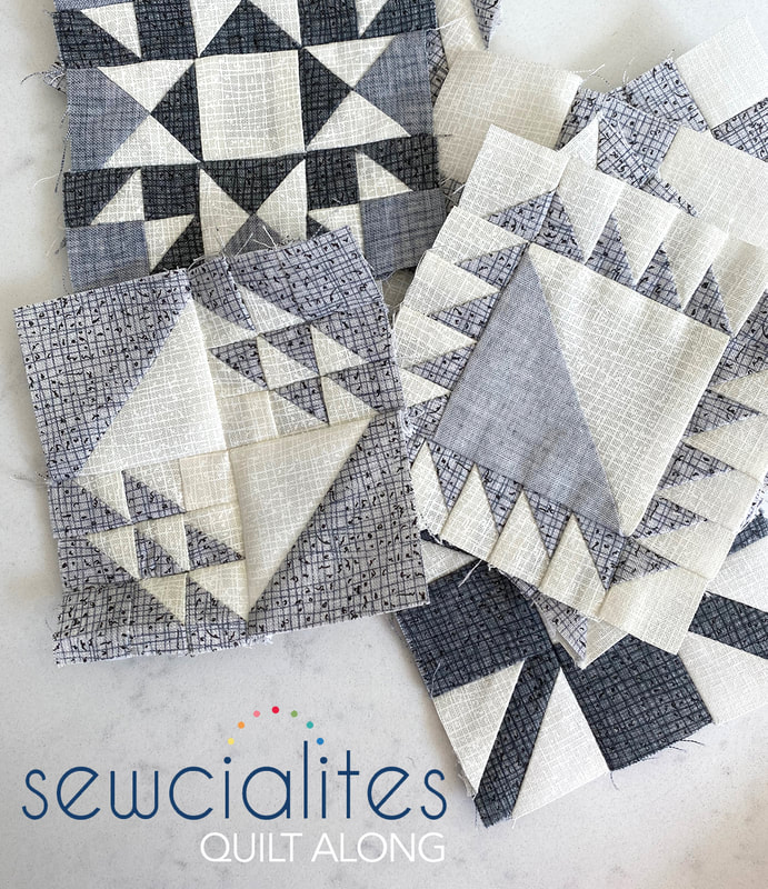 Sewcialites Quilt Along using Thatched Grays in 3