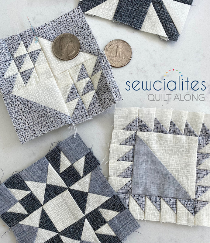 Sewcialites blocks in Thatched grays