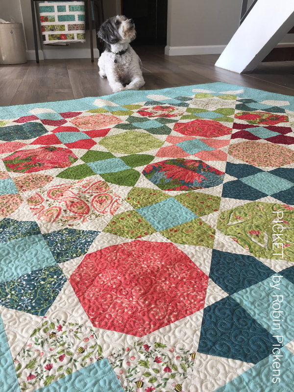 Picket quilt by Robin Pickens with Painted Meadow for Moda Fabrics with special helper