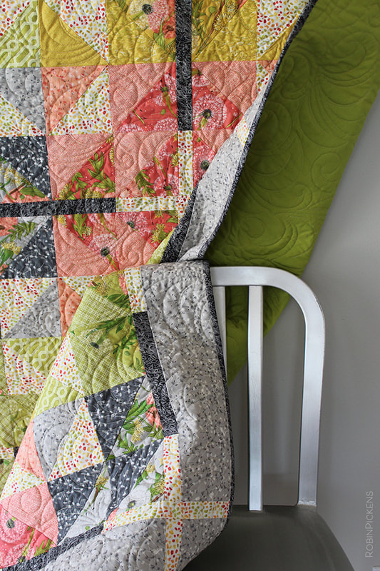 Farmhouse Crossing quilt by Robin Pickens with Dandi Annie and Pesto Bella Solid