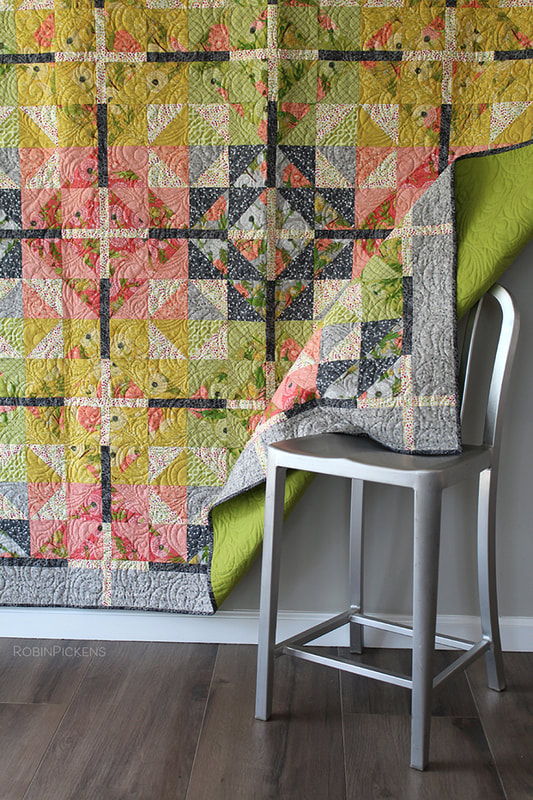 Farmhouse Crossing Quilt by Robin Pickens in warm and summery colors