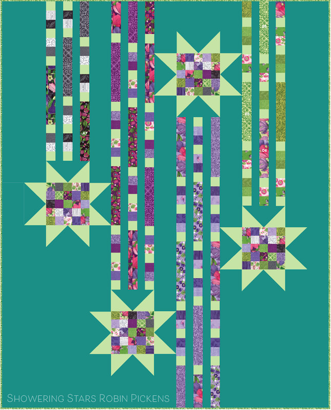 Showering Stars quilt by Robin Pickens in Turquoise