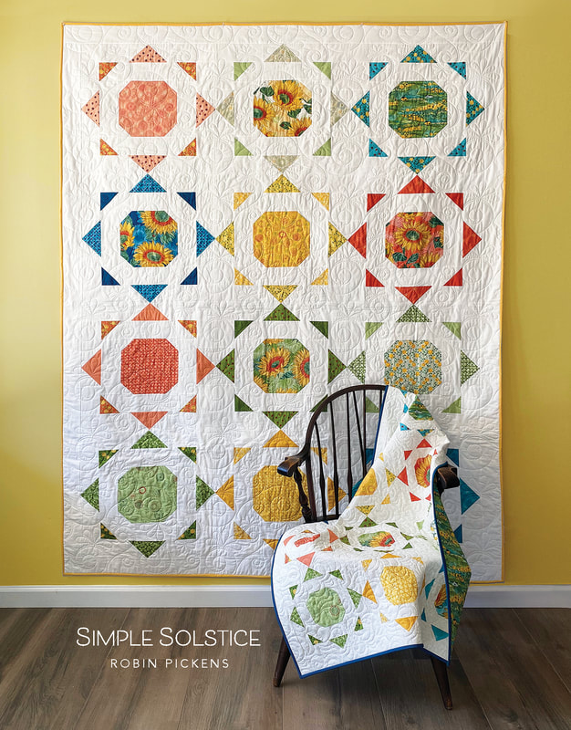 Simple Solstice quilt pattern by Robin Pickens with Solana fabric