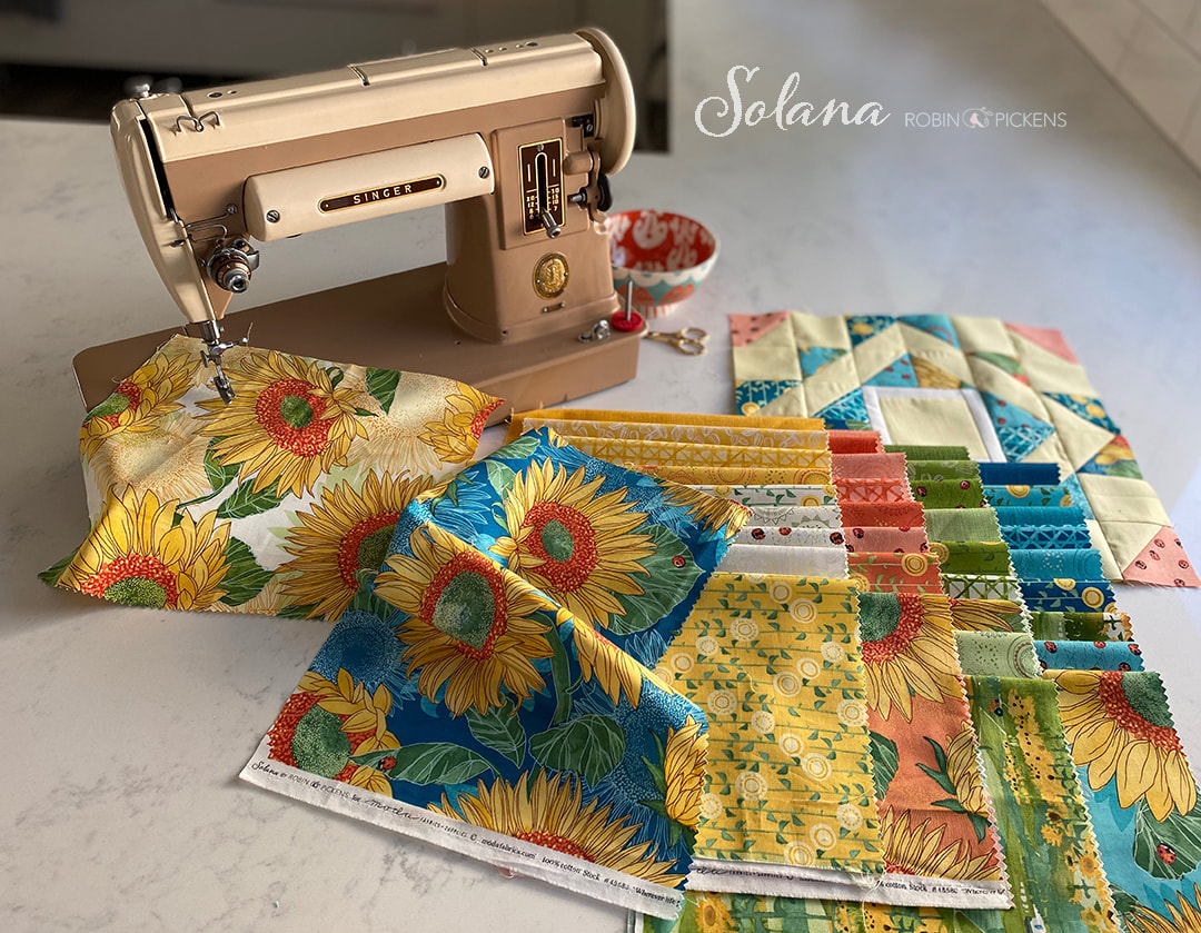 Solana sunflower fabric with vintage Singer