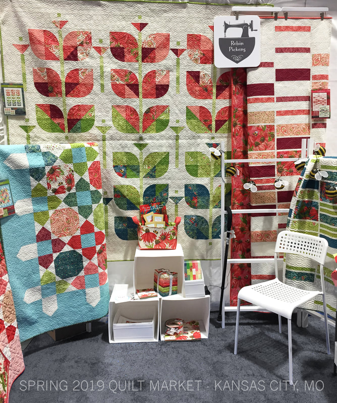 Robin Pickens Quilt Market booth with Painted Meadow, Kansas City 2019