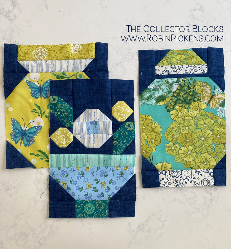 Quilt blocks from The Collector by Robin Pickens in Cottage Bleu ginger jar and flower bowl vase