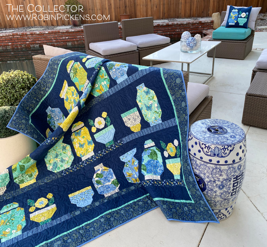 The Collector quilt by Robin Pickens in Cottage Bleu from Moda Fabrics