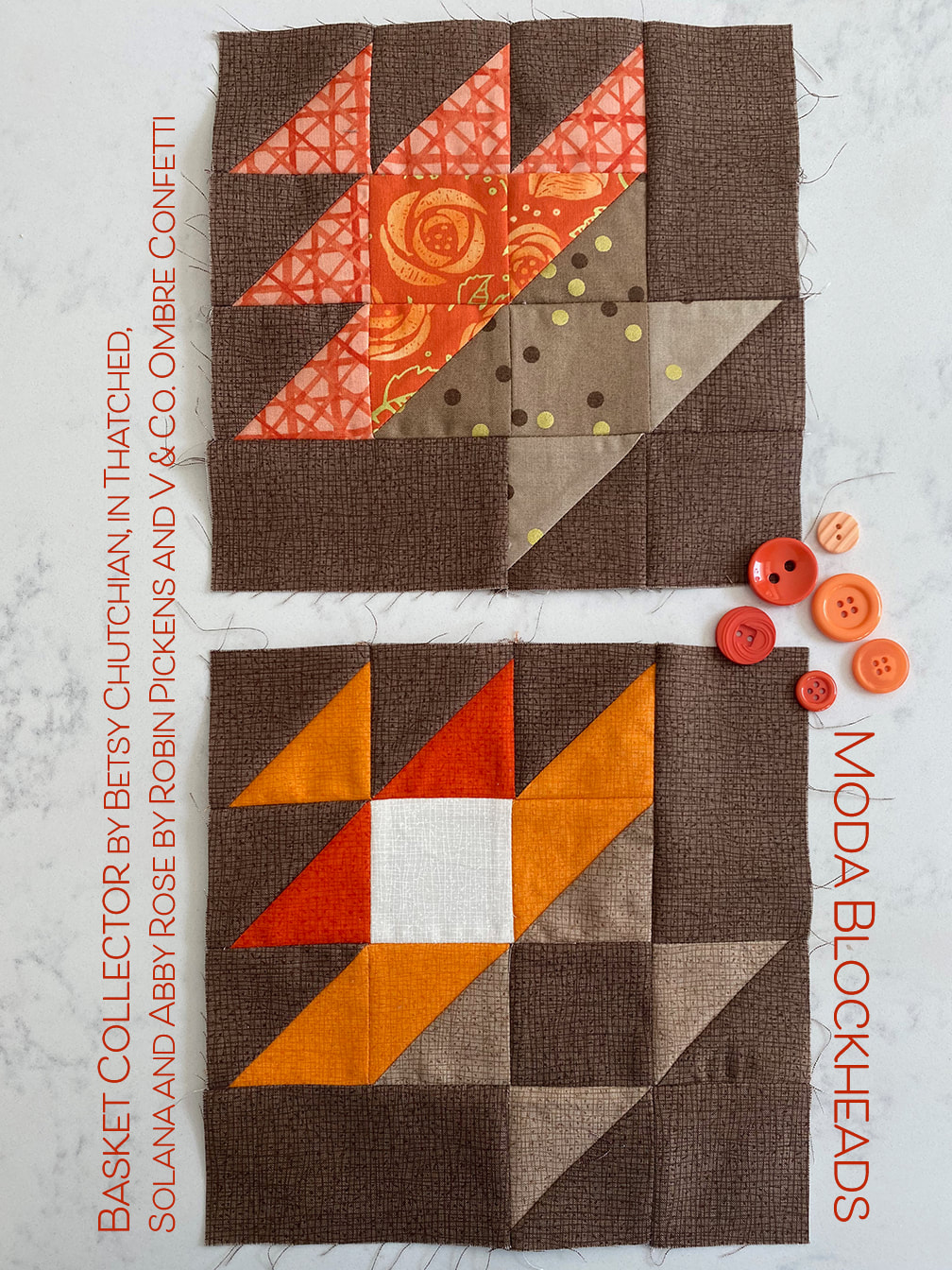 Basket Collector quilt block for Moda Blockheads from Betsy Chutchian done in Robin Pickens fabrics