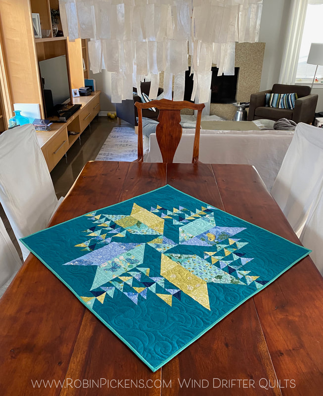 Wind Drifter quilt as table topper Robin Pickens