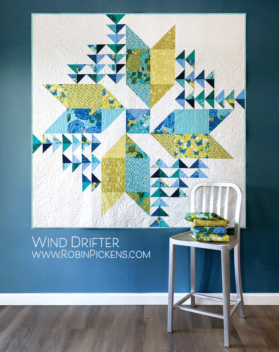 Wind Drifter large quilt by Robin Pickens in Cottage Bleu from Moda Fabrics